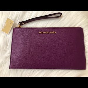 Michael Kors Leather Wristlet in Pomegranate!
